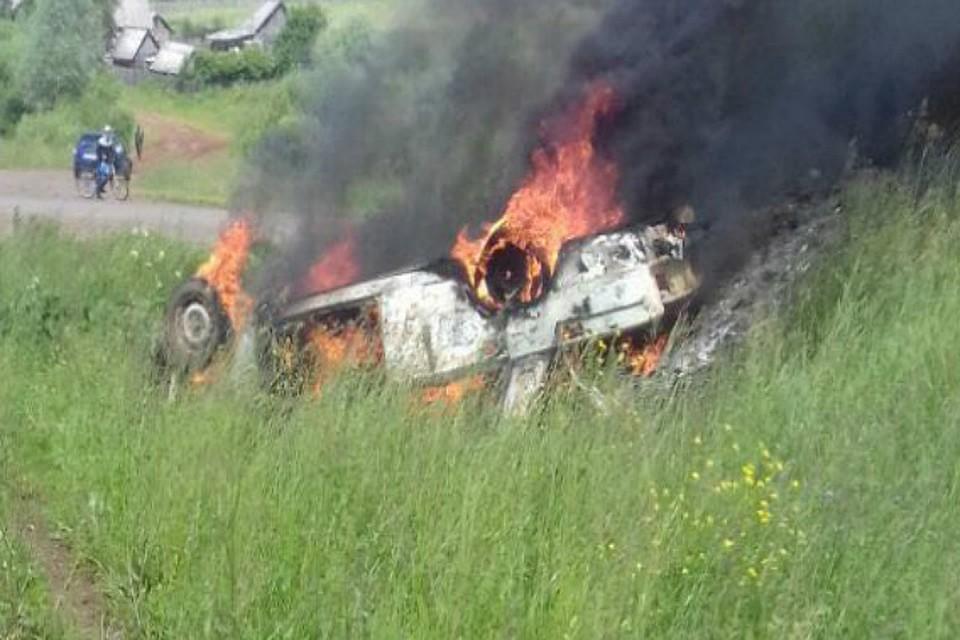 ВБашкирии два человека сгорели вмашине после ДТП