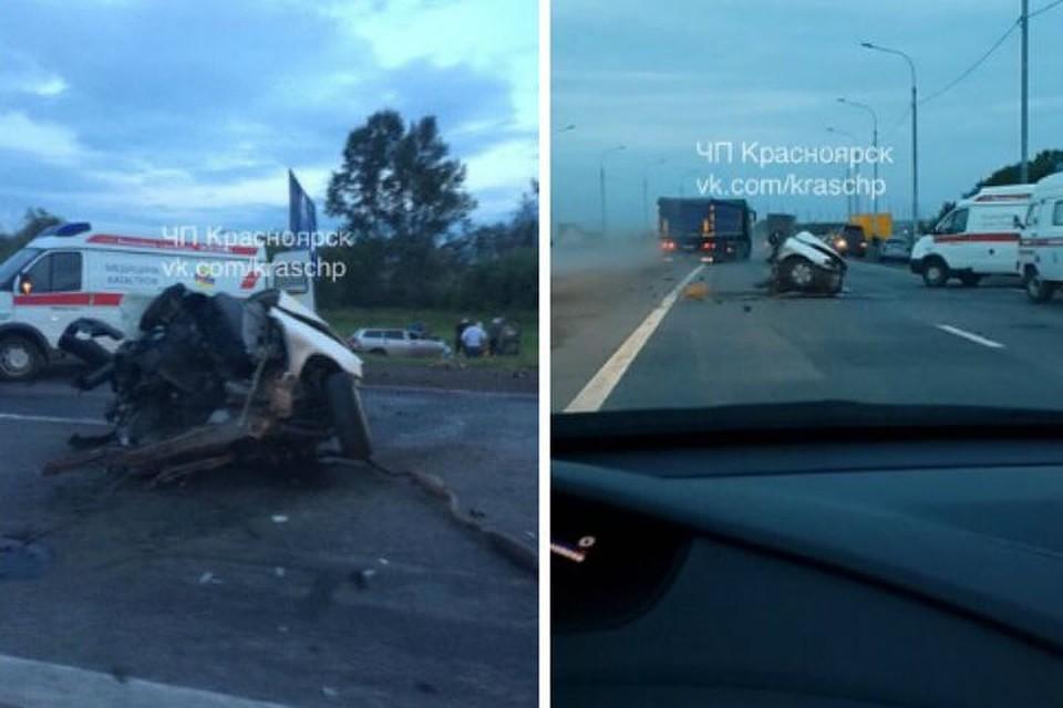 Иномарку разорвало пополам натрассе вЕмельяново