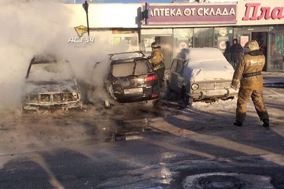 4 автомобиля сгорели на стоянке вНовосибирске