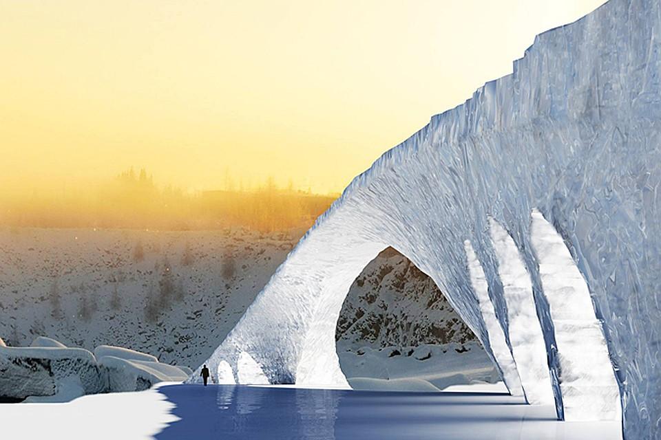 Ледяной мост возводят в местечке Юука в восточной части Финляндии
