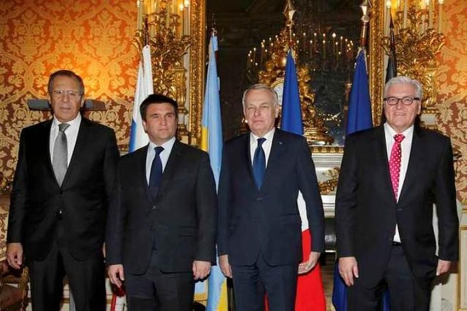 Министры иностранных дел России, Украины, Франции и Германии на встрече в Париже
