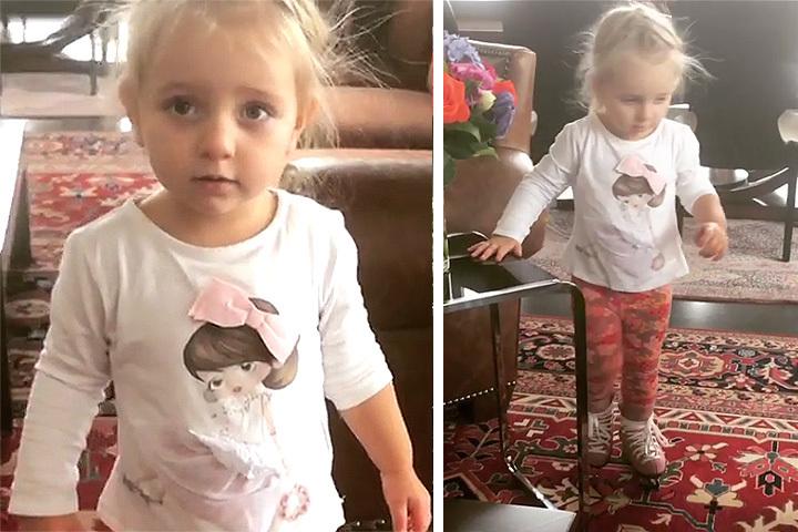Татьяна Навка поставила двухлетнюю дочку наконьки