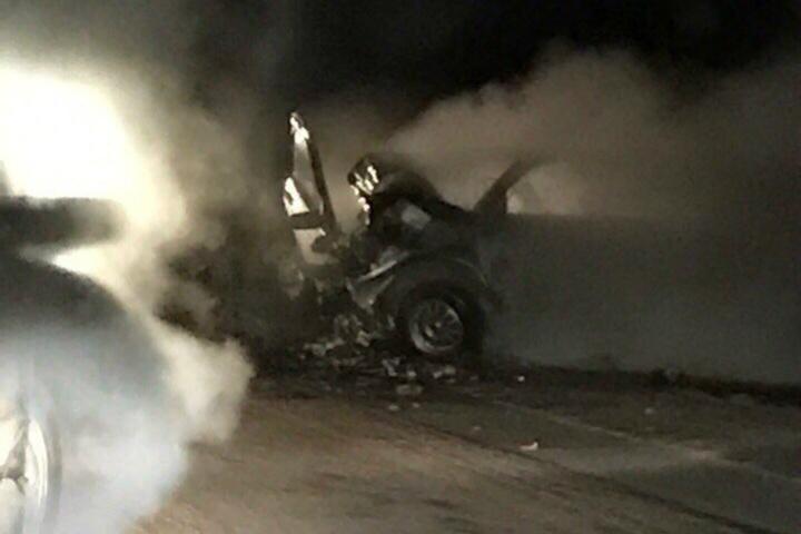 Шофёр загоревшегося автомобиля умер вДТП натрассе Бураново-Киясово