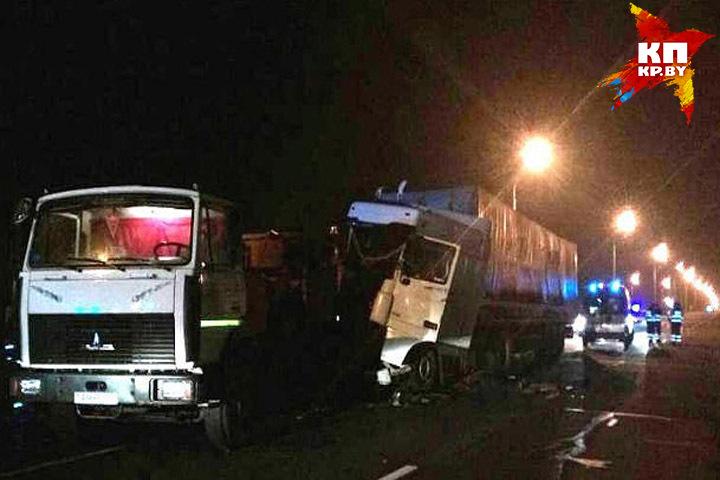 На МКАД погиб человек при столкновении трех грузовиков Фото: МЧС