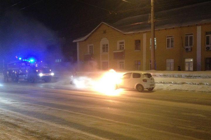 ВУфе находу загорелась иностранная машина