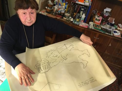 """И такие рисунки приходилось делать Галине Балашовой: это эскиз флюгера для дачи одного из руководителей """"Энергии"""": Карлсон с кружкой пива (уж очень руководитель любил этот напиток). Фото: Александр МИЛКУС"""