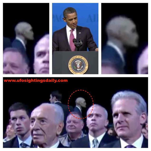 Уфологи полагают, что за Обамой приглядывают инопланетяне. Один из них был замечен в 2012 году среди охранников.