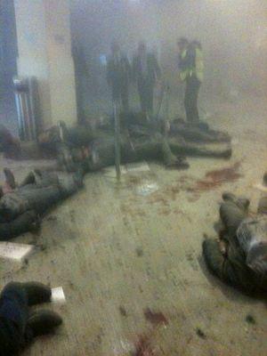 Первые минуты после взрыва.