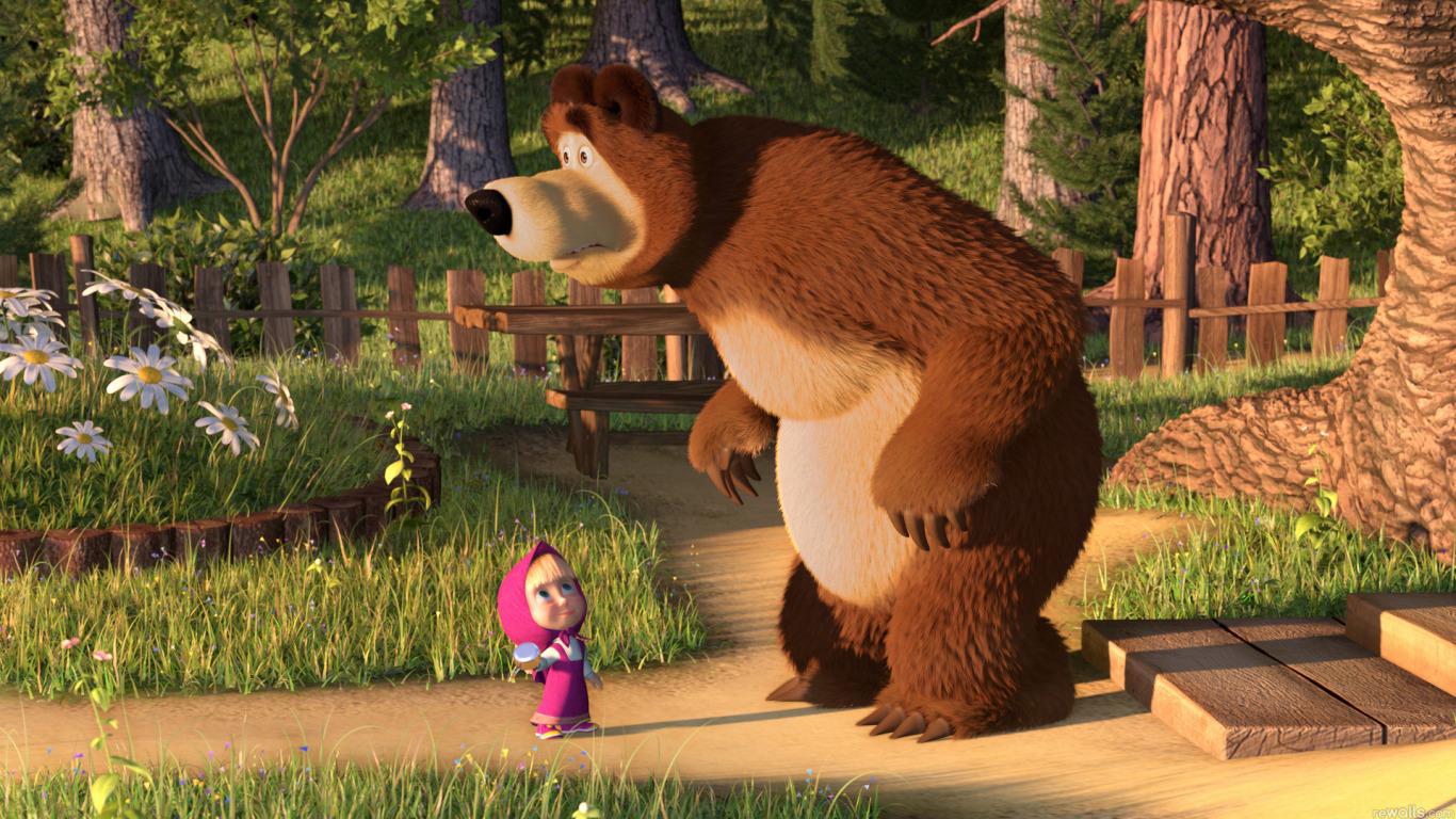 маша и медведь первая встреча гифка плитку приусадебных участках