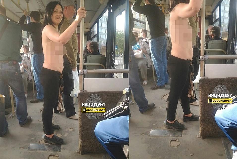 У девушка в автобусе вывалилась грудь