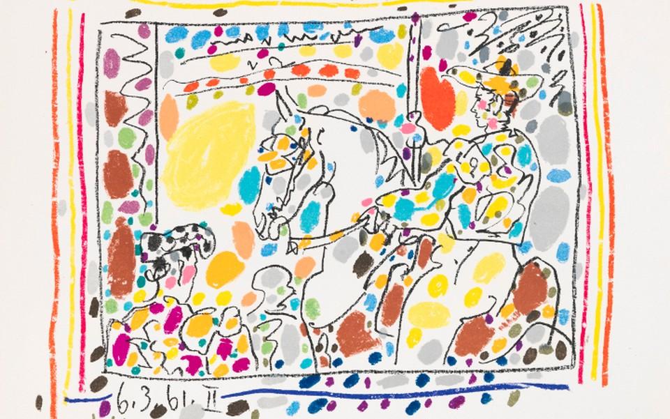 """Литография Пабло Пикассо """"Пикадор II"""" (фрагмент) - один из экспонатов только что открывшейся выставки. Предоставлено Altmans Gallery."""