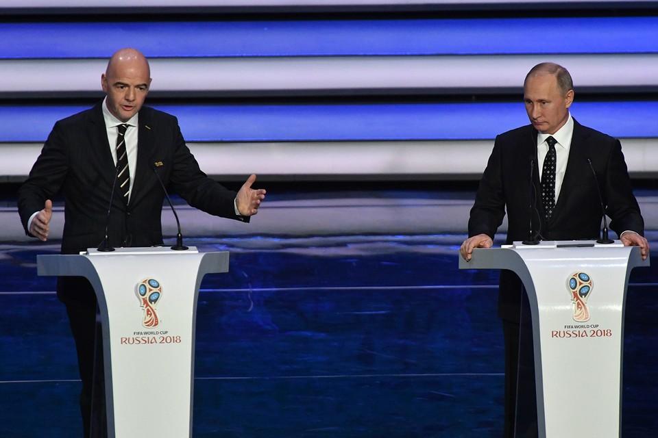 Президент ФИФА Инфантино и президент России Владимир Путин открыли церемонию