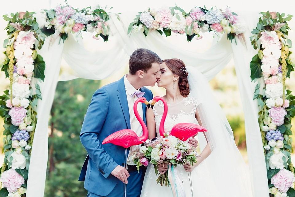 f6f7ad46f В день свадьбы фламинго были везде, потому что они символ исполнения  желаний. Фото: