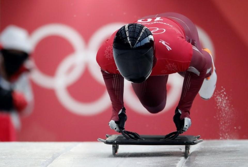 Скелетонист Никита Трегубов во время первого заезда на Олимпиаде в Пхенчхане.