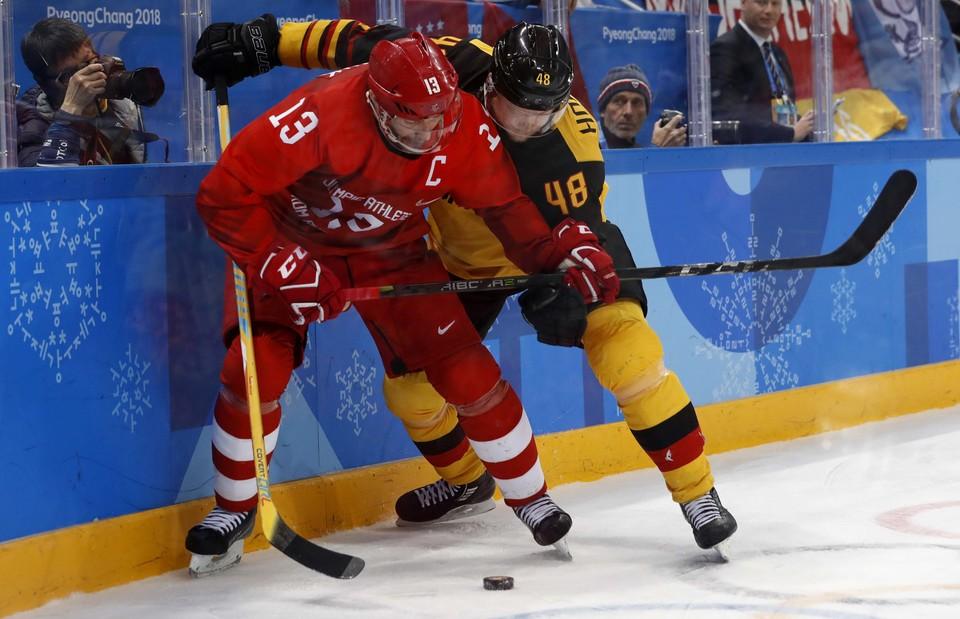 Павел Дацюк во время финала Олимпиады 2018 с Германией.
