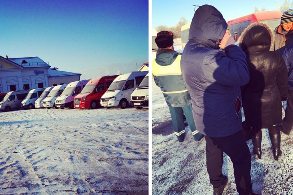 Фотофакт: забастовка маршрутчиков в Слуцке и Солигорске. Фото соцсети.