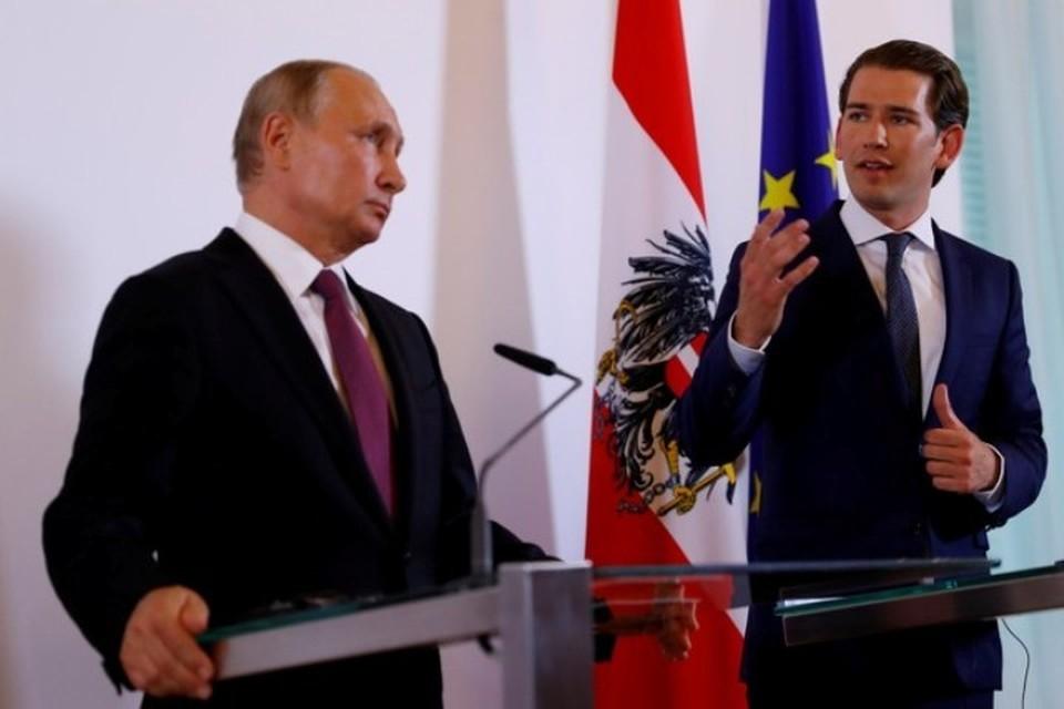 Канцлер Австрии Себастьян Курц на совместной пресс-конференции с президентом России Владимиром Путиным