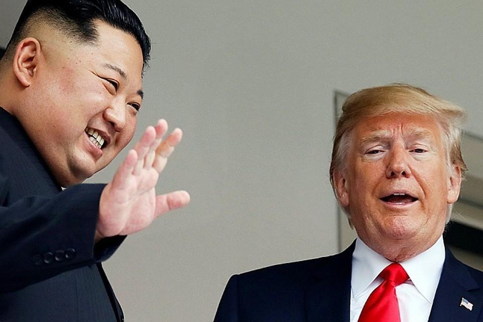 Президент США Дональд Трамп и севекорейский лидер Ким Чен Ын.