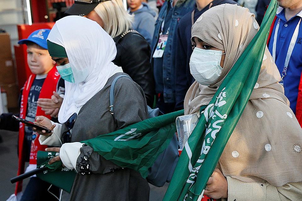 Болельщицы из Саудовской Аравии после матча в Москве.