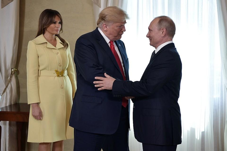 Президент США Дональд Трамп с супругой Меланией, президент России Владимир Путин