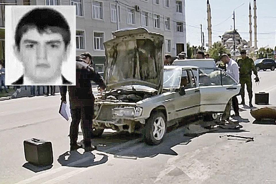 """В этой машине, за рулем которой сидел 18-летний Элах Ахматханов (фото в углу) была заложена мощная взрывчатка. Фото: ЧГТРК """"Грозный"""""""