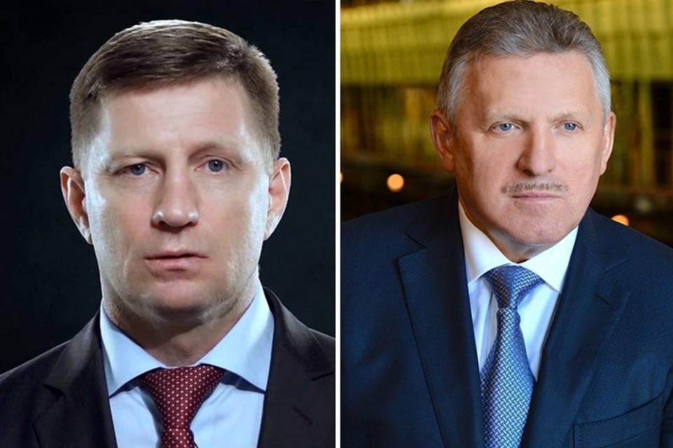Кандидаты на пост губернатора Хабаровского края: слева - Сергей Фургал (ЛДПР), справа - Вячеслав Шпорт (Единая Россия)