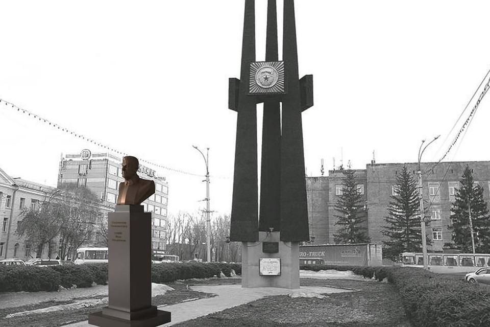 По задумке архитекторов, именно так должен выглядеть памятник Сталину на  площади Сибиряков-Гвардейцев у 16f3e7201da