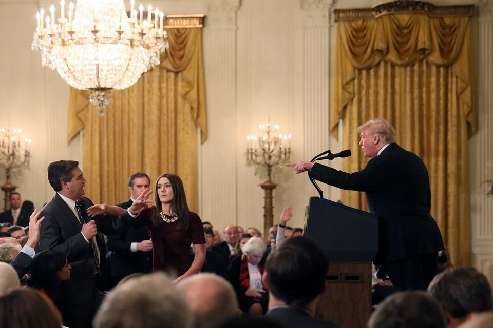 Пресс-конференция Дональда Трампа, в ходе которой произошла перепалка с журналистом CNN Джимом Акостой