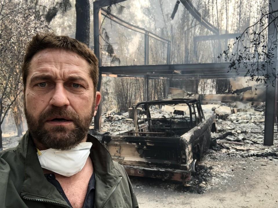 Актер Джерард Батлер показал свой сгоревший дом в Калифорнии. Фото: Twitter/GerardButler