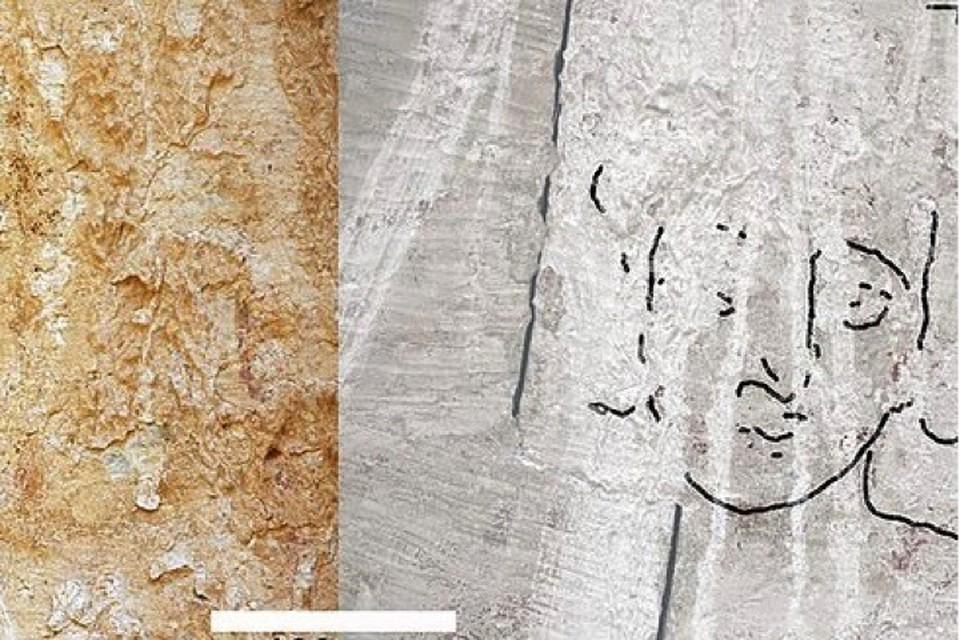 Слева стена с ликом Иисуса, справа археологи его обозначили - ведь чтобы разглядеть изображение необходима специальная техника.