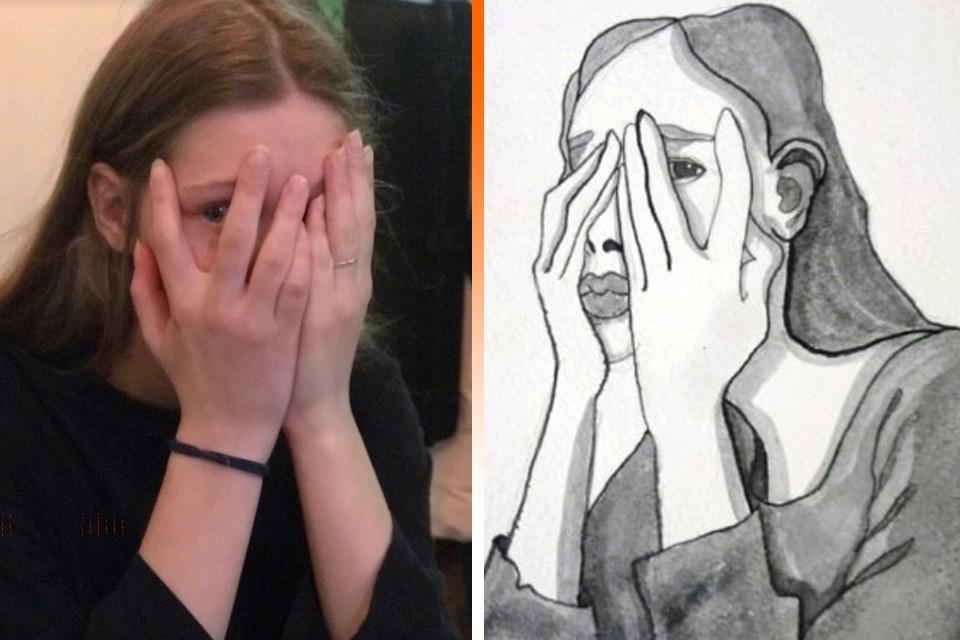 Даша Агений и картинка, которую она нарисовала после того, как ее чуть не изнасиловал пьяный мужик.
