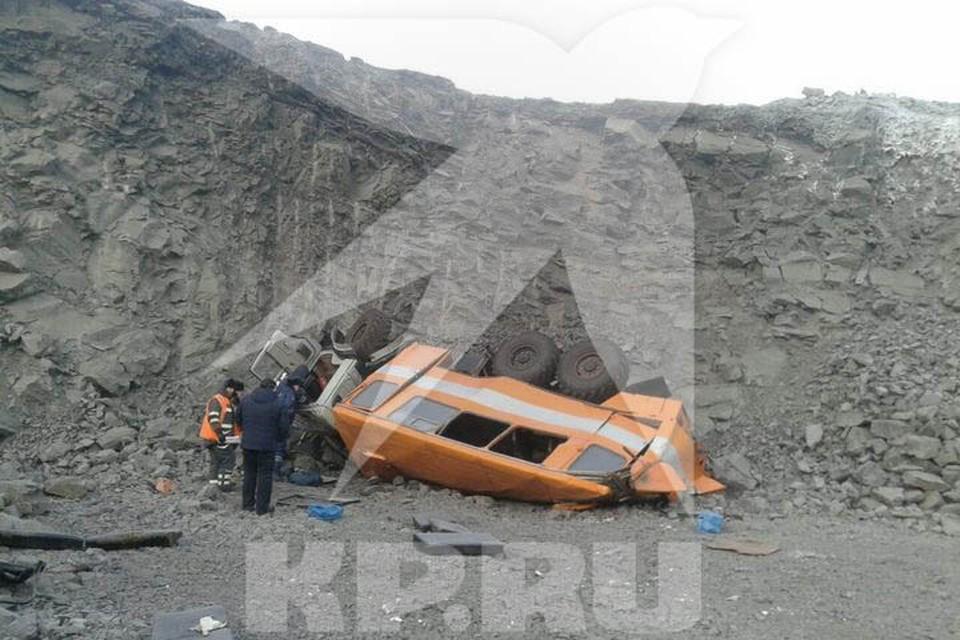 Вахтовый автобус рухнул с 40 метров