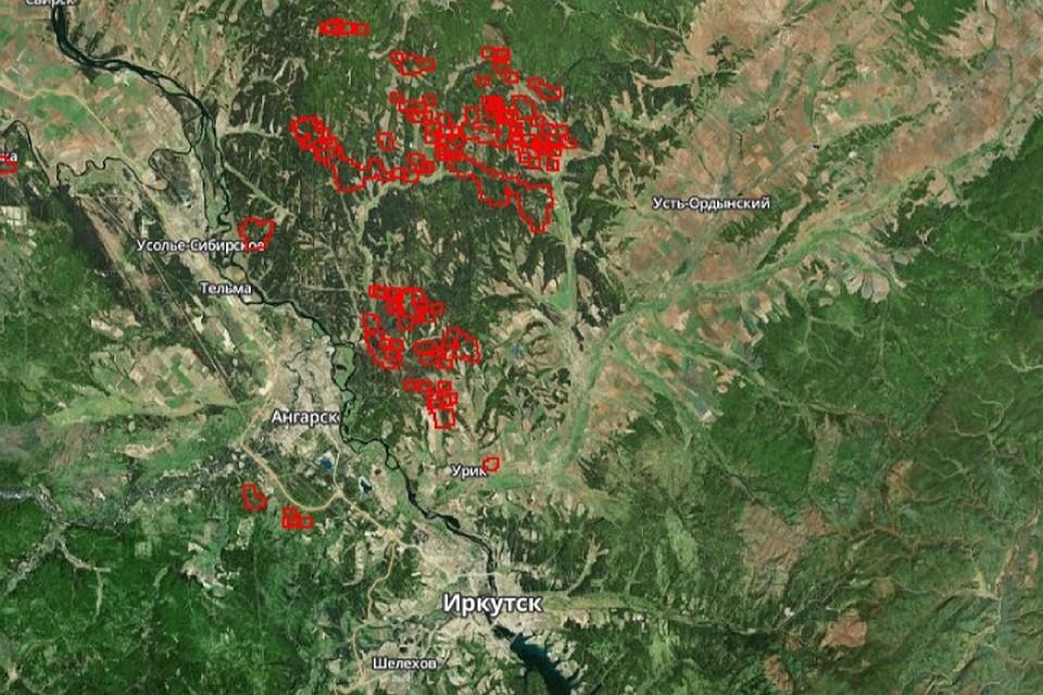 Где горят леса в Иркутской области. Фото: скриншот карты с сайта fires.ru.