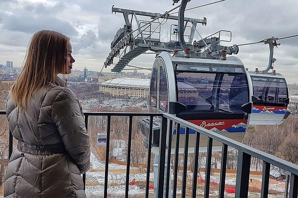 В столице уже запустили канатку над Москвой-рекой на Воробьевых горах