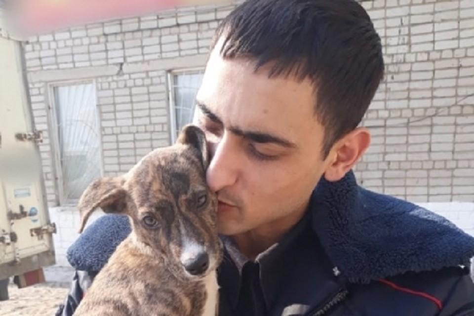 Неравнодушный сотрудник полиции, спасший жизнь маленькому щенку. Фото: пресс-служба отдела МВД России по городу Уссурийску.