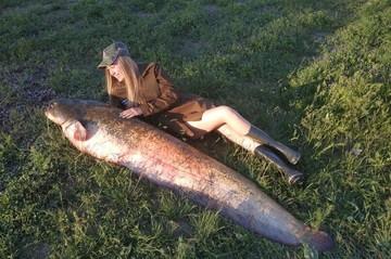 62 кило на удочке: девушка полтора часа вытаскивала из Волги рыбу-гиганта