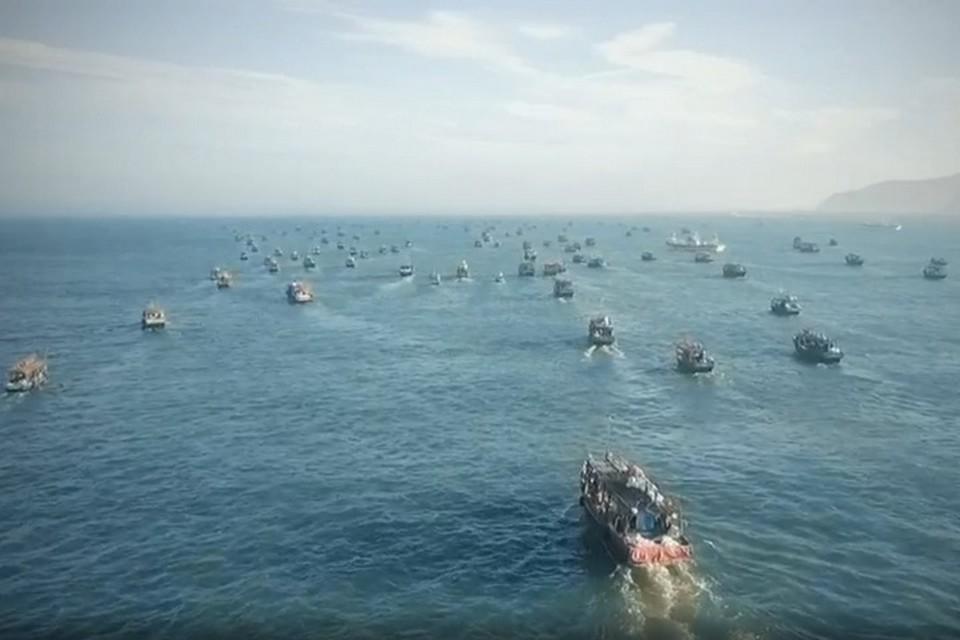 В нашей 200-мильной особой экономической зоне и в нейтральных водах северокорейских шхун насчитывается от 3 до 5 тысяч в сезон сентября-октября