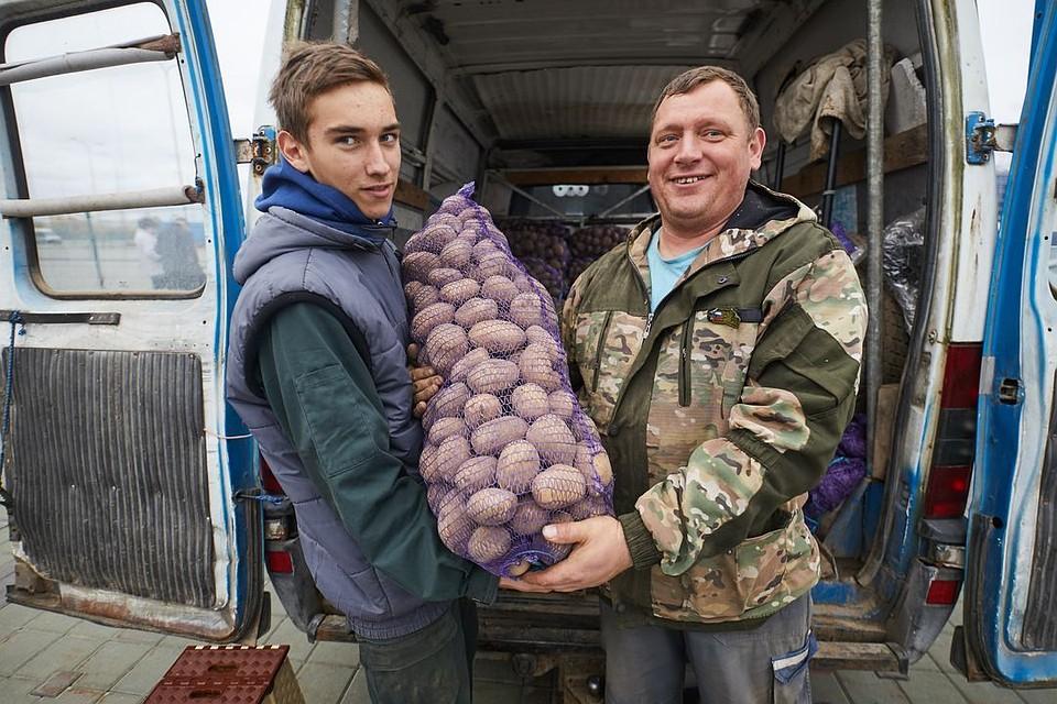 Владимир (справа) занимается выращиванием и продажей овощей уже 10 лет.