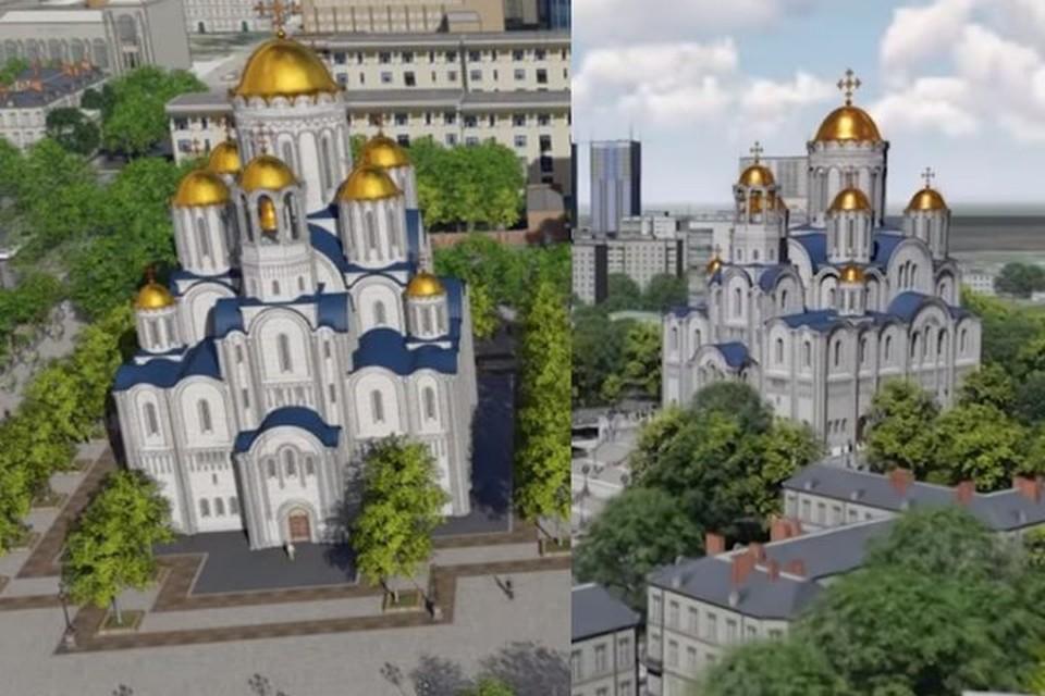 Слева - храм на месте Приборостроительного завода. Справа - за Макаровским мостом. Фото: эскизы проекта