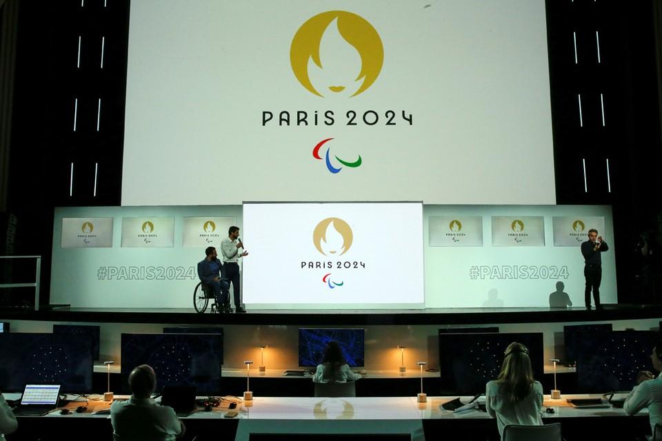 На гигантском экране кинотеатра Grand Rex в Париже была показана эмблема Олимпиады-2024.