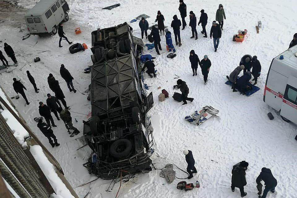 Падение автобуса лед в Забайкалье: 10 человек не получили никаких травм