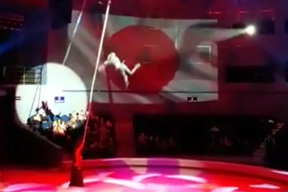 Во Владивостокском цирке сорвалась гимнастка. Скрин из видео: dps_vl
