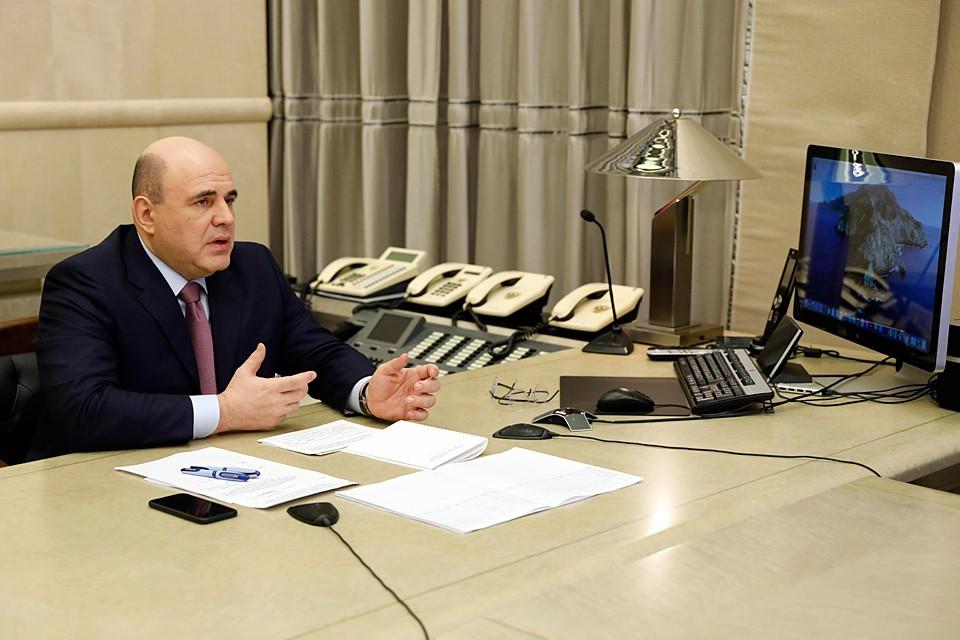 Премьер-министр Михаил Мишустин провел заседание президиума Координационного совета по противодействию коронавирусу. Фото: Дмитрий Астахов/POOL/ТАСС