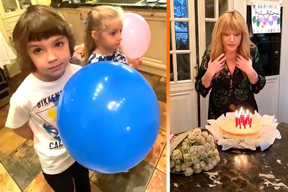 Двойняшки Гарри и Лиза поздравили маму с днем рождения.