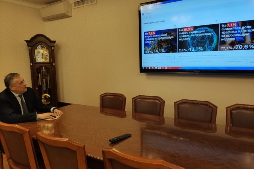 Все оперативные данные в эти дни стекаются в Ситуационный центр, который помогает губернатору Александру Дрозденко быстро принимать решения. Фото: предоставлено пресс-службой администрации Ленинградской области.