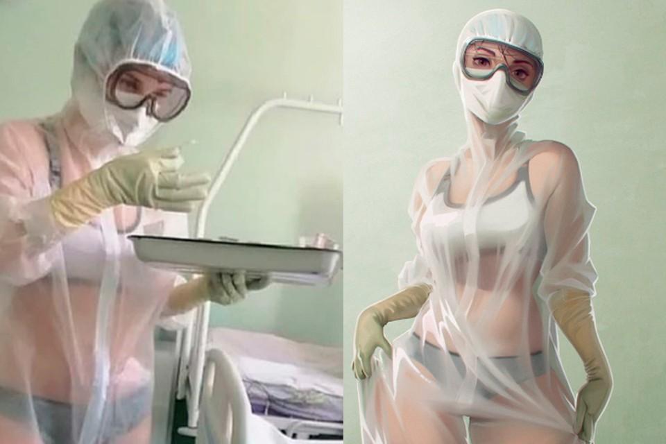Тульская медсестра в купальнике стала героиней комикса / Фото: twitter.com/Marmalade_Mum