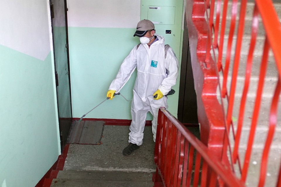 В Хабаровске продолжается санитарная обработка подъездов