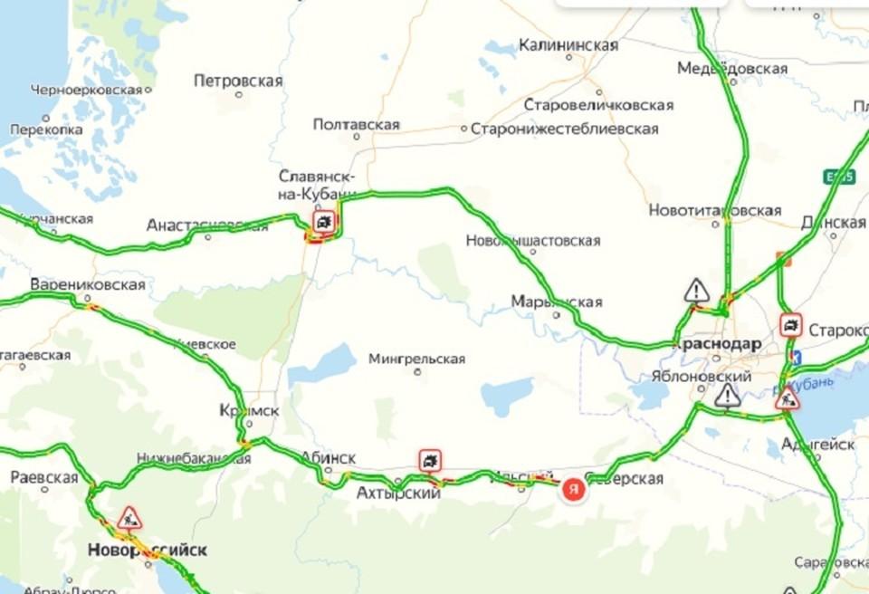 Пробки, к сожалению, на всем пути к морю. Фото: Яндекс/карты