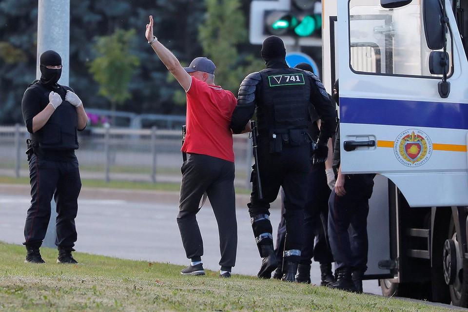 Задержание в центре Минска, 10 августа 2020 г.