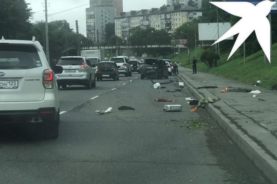 Во Владивостоке из-за ДТП образовалась пробка